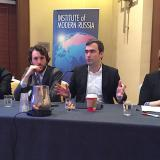 """IMR panel on information war. Left to right: Mark Galeotti, Michael Weiss, Pavel Khodorkovsky, Ekaterina Mishina. Photo: IMR"""